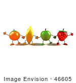 #46605 Royalty-Free (Rf) Illustration Of A Line Of Orange Banana Green Apple And Strawberry Mascots Holding Hands