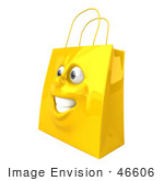 #46606 Royalty-Free (Rf) Illustration Of A 3d Yellow Shiny Happy Shopping Bag Head