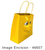 #46607 Royalty-Free (Rf) Illustration Of A 3d Yellow Shiny Grumpy Shopping Bag Head