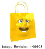 #46608 Royalty-Free (Rf) Illustration Of A 3d Yellow Shiny Estatic Shopping Bag Head