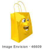 #46609 Royalty-Free (Rf) Illustration Of A 3d Yellow Shiny Excited Shopping Bag Head