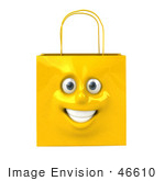 #46610 Royalty-Free (Rf) Illustration Of A 3d Yellow Shiny Smiling Shopping Bag Head