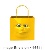 #46611 Royalty-Free (Rf) Illustration Of A 3d Yellow Shiny Lonely Shopping Bag Head