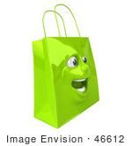 #46612 Royalty-Free (Rf) Illustration Of A 3d Green Shiny Excited Shopping Bag Head