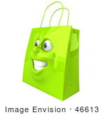 #46613 Royalty-Free (Rf) Illustration Of A 3d Green Shiny Happy Shopping Bag Head