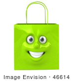 #46614 Royalty-Free (Rf) Illustration Of A 3d Green Shiny Smiling Shopping Bag Head