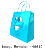 #46615 Royalty-Free (Rf) Illustration Of A 3d Blue Shiny Happy Shopping Bag Head