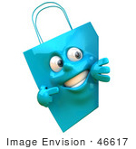 #46617 Royalty-Free (Rf) Illustration Of A 3d Blue Shopping Bag Mascot Smiling And Pointing To A Blank Sign
