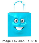 #46618 Royalty-Free (Rf) Illustration Of A 3d Blue Shiny Smiling Shopping Bag Head