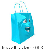 #46619 Royalty-Free (Rf) Illustration Of A 3d Blue Shiny Excited Shopping Bag Head