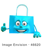 #46620 Royalty-Free (Rf) Illustration Of A 3d Blue Shopping Bag Mascot Holding A Sign With A Thumb Up