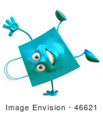 #46621 Royalty-Free (Rf) Illustration Of A 3d Happy Blue Shopping Bag Doign A Cartwheel
