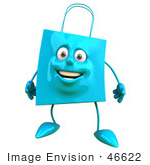 #46622 Royalty-Free (Rf) Illustration Of A 3d Friendly Blue Shopping Bag