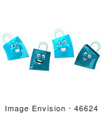 #46624 Royalty-Free (Rf) Illustration Of A 3d Group Of Four Happy Blue Shopping Bag Faces