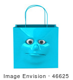#46625 Royalty-Free (Rf) Illustration Of A 3d Blue Shiny Lonely Shopping Bag Head