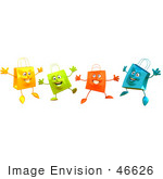 #46626 Royalty-Free (Rf) Illustration Of A 3d Group Of Happy Shopping Bags