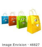 #46627 Royalty-Free (Rf) Illustration Of A 3d Group Of Four Grinning Colorful Shopping Bag Faces