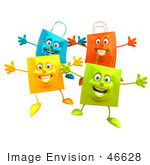 #46628 Royalty-Free (Rf) Illustration Of A 3d Group Of Colorful Shopping Bags Holding Their Arms Out