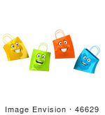 #46629 Royalty-Free (Rf) Illustration Of A 3d Group Of Four Happy Colorful Shopping Bag Faces