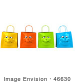 #46630 Royalty-Free (Rf) Illustration Of A 3d Group Of Four Grumpy Colorful Shopping Bag Faces