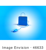 #46633 Royalty-Free (Rf) Illustration Of A 3d Blue Shopping Bag With A Computer Mouse - Version 3