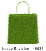 #46634 Royalty-Free (Rf) Illustration Of A 3d Grassy Green Shopping Bag