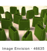 #46635 Royalty-Free (Rf) Illustration Of A 3d Crowd Of Green Grass Shopping Bags