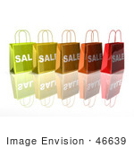 #46639 Royalty-Free (Rf) Illustration Of A 3d Row Of Colorful Sale Shopping Bags - Version 3