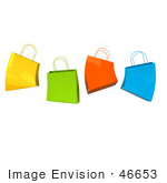 #46653 Royalty-Free (Rf) Illustration Of A 3d Group Of Colorful Jumping Shopping Bags