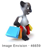 #46659 Royalty-Free (Rf) Illustration Of A 3d Siamese Pussy Cat Mascot Carrying Shopping Bags - Version 2