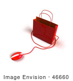 #46660 Royalty-Free (Rf) Illustration Of A 3d Red Shopping Bag With A Computer Mouse