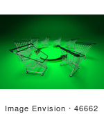 #46662 Royalty-Free (Rf) Illustration Of A Circle Of 3d Shopping Carts Around Circling Green Arrows - Version 2