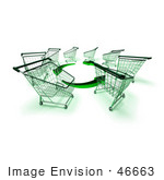 #46663 Royalty-Free (Rf) Illustration Of A Circle Of 3d Shopping Carts Around Circling Green Arrows - Version 4