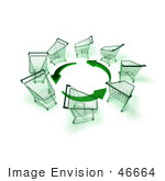 #46664 Royalty-Free (Rf) Illustration Of A Circle Of 3d Shopping Carts Around Circling Green Arrows - Version 3