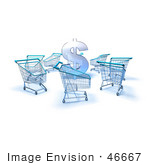 #46667 Royalty-Free (Rf) Illustration Of A 3d Dollar Symbol Surrounded By Shopping Carts - Version 2