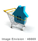 #46669 Royalty-Free (Rf) Illustration Of A 3d Blue House In A Shopping Cart