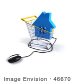 #46670 Royalty-Free (Rf) Illustration Of A 3d Computer Mouse Under A Blue House In A Shopping Cart
