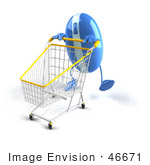 #46671 Royalty-Free (Rf) Illustration Of A 3d Blue Computer Mouse Mascot Pushing A Shopping Cart - Version 6