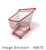 #46673 Royalty-Free (Rf) Illustration Of A 3d Empty Red Rimmed Shopping Cart - Version 2