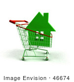 #46674 Royalty-Free (Rf) Illustration Of A 3d Green House In A Shopping Cart