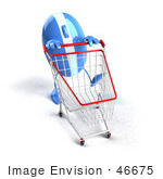 #46675 Royalty-Free (Rf) Illustration Of A 3d Blue Computer Mouse Mascot Pushing A Shopping Cart - Version 5