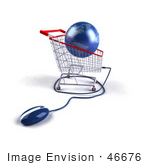 #46676 Royalty-Free (Rf) Illustration Of A 3d Blue Globe Resting In A Shopping Cart With A Computer Mouse - Version 1
