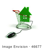 #46677 Royalty-Free (Rf) Illustration Of A 3d Computer Mouse Under A Green House In A Shopping Cart