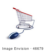 #46679 Royalty-Free (Rf) Illustration Of A 3d Shopping Cart With A Computer Mouse - Version 4