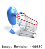 #46680 Royalty-Free (Rf) Illustration Of A 3d Blue Computer Mouse Mascot Pushing A Shopping Cart - Version 4