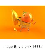 #46681 Royalty-Free (Rf) Illustration Of A 3d Banana Mascot Pushing An Orange In A Shopping Cart - Version 2