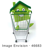 #46683 Royalty-Free (Rf) Illustration Of A 3d Green Clay Home Mascot Pushing A Shopping Cart - Version 2