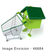 #46684 Royalty-Free (Rf) Illustration Of A 3d Green Clay Home Mascot Pushing A Shopping Cart - Version 3