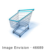 #46689 Royalty-Free (Rf) Illustration Of A 3d Empty Blue Rimmed Shopping Cart - Version 2