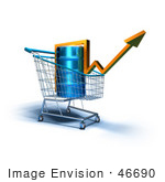 #46690 Royalty-Free (Rf) Illustration Of A 3d Arrow Over An Oil Barrel In A Shopping Cart - Version 2